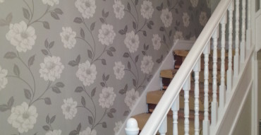 Papered staircase