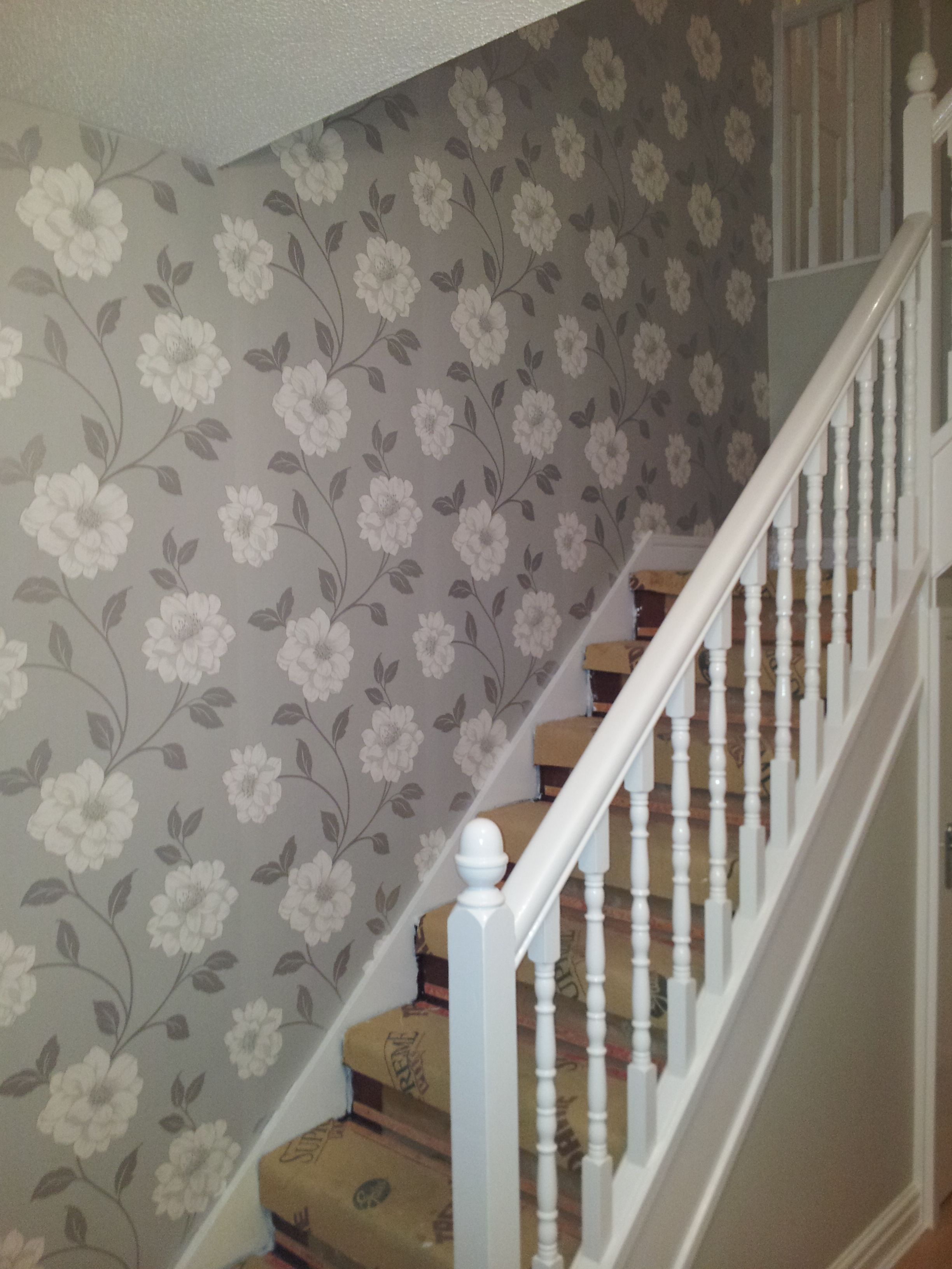 Stairs Wall in Patterned Wallpaper